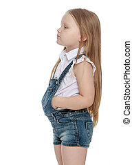 Little girl in denim shorts - Offended little chubby girl...