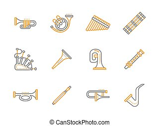Simple line musical instruments vector icons set - Yellow...