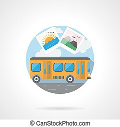 Travel by bus color detailed vector icon