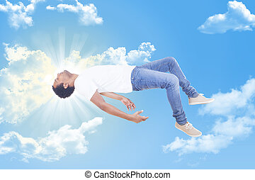 Interracial man ascending to heaven