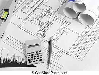 Housing development - Blueprints and office supplies