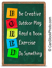 Resolutions concept - Bored acronym on blackboard, be...