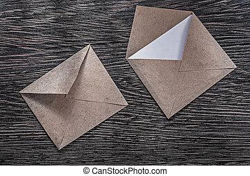Vintage post envelopes letter on wooden board directly...