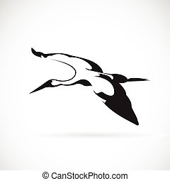 Vector of a flying stork on white background.