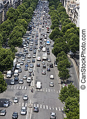 Champs Elysees Boulevard and cars - Aerial view of Champs...