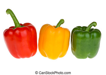 Red, yellow and green bell peppers isolated on the white...