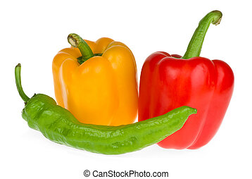 Bell and chili peppers