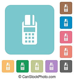 Flat POS terminal icons on rounded square color backgrounds