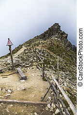 Mountain pass, benches and wooden fences. High Tatras....