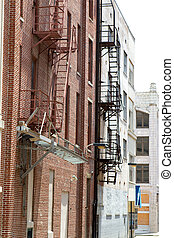 Old Fire Escapes - Old fire escapes are attached to the...