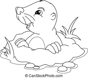 Mole Coloring Page - Cute mole peeking out of a hole