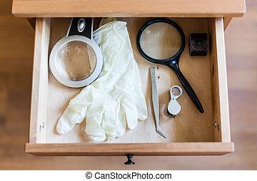 guantes, blanco, Pinzas, anteojos, Aumentar