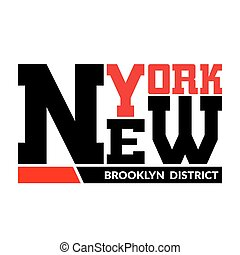 T shirt typography graphic New York Brooklyn district - T...