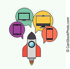 Network electronic devices communication vector illustration...