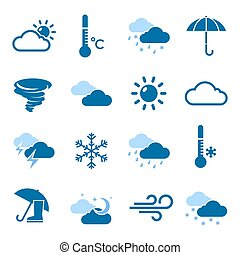 Weather Forecast Blue Icon Set - Weather forecast isolated...