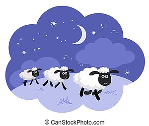 Sheep in a dream bubble - Counting sheep in the night...