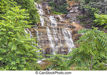 Hector Falls Cascade - Ribbons of whitewater cascade down...