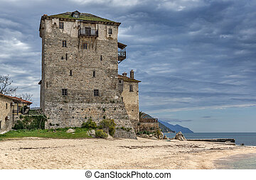 Ouranopoli, Athos, Greece - Amazing view to Medieval tower...