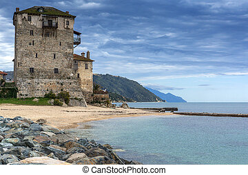 Ouranopoli, Athos, Greece - Amazing Seascape with Medieval...