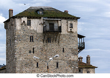 Ouranopoli, Athos, Greece - Medieval tower in Ouranopoli,...