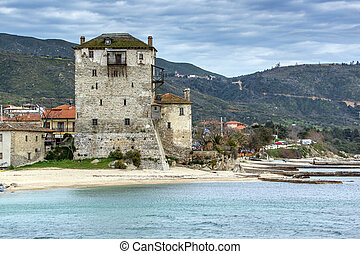 Ouranopoli, Athos, Greece - Panoramic view of Ouranopoli and...