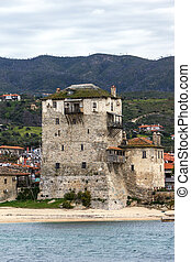 Ouranopoli, Athos, Greece - Medieval tower and panorama to...