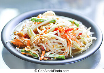 som tam or spicy salad in Thailand - som tam or spicy salad...