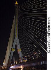 Rama VIII Bridge in night - Rama VIII Bridge with lighting...