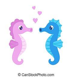 Cute cartoon seahorse couple. Male and female sea horses...