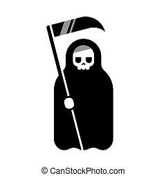 Death with scythe - Cartoon Death with scythe icon. Black...