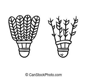 Shuttlecock line illustration - Two feather shuttlecocks,...