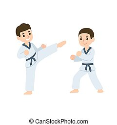 Cartoon kids martial arts - Cartoon kids training martial...