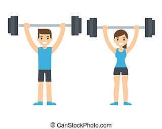 weight lifting athletes - Man and woman bodybuilders lifting...
