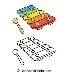 Toy xylophone illustration - Cartoon toy xylophone vector....