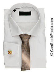 Folded white shirt with a tie and cufflinks, isolated on...