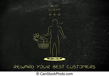 man holding shopping basket with gift card for being Best...