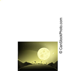 Moon night illustration - Illustrated with a large full moon...