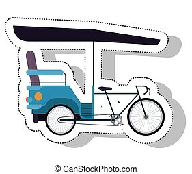 rickshaw service isolated icon vector illustration design