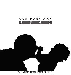 best dad with child silhouette illustration in black