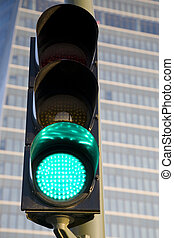 Green Light in front of Office Building