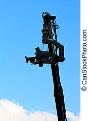 crane with tv camera - Professional TV camera on a crane...