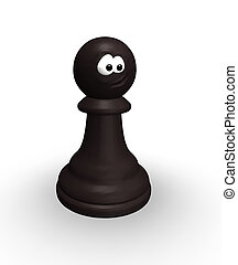 funny chess pawn - black chess pawn with comic face - 3d...