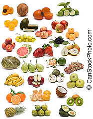 Fruit collection. - A collection of fruits isolated on a...