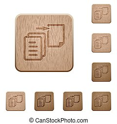 Move file wooden buttons - Set of carved wooden move file...