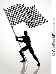 Racing Flag Bearer - Silhouette illustration of a man...
