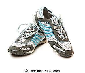 Sports pair of shoes on white background