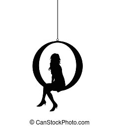 girl silhouette siting illustration in black color