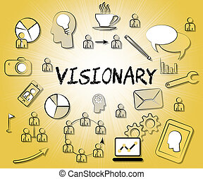 Visionary Icons Represents Insights Strategist And Ideals -...