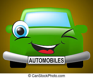 Automobiles Car Represents Motor Vehicle And Driving -...