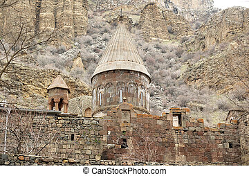 Ancient monastery Geghard in Armenia - Ancient monastery...